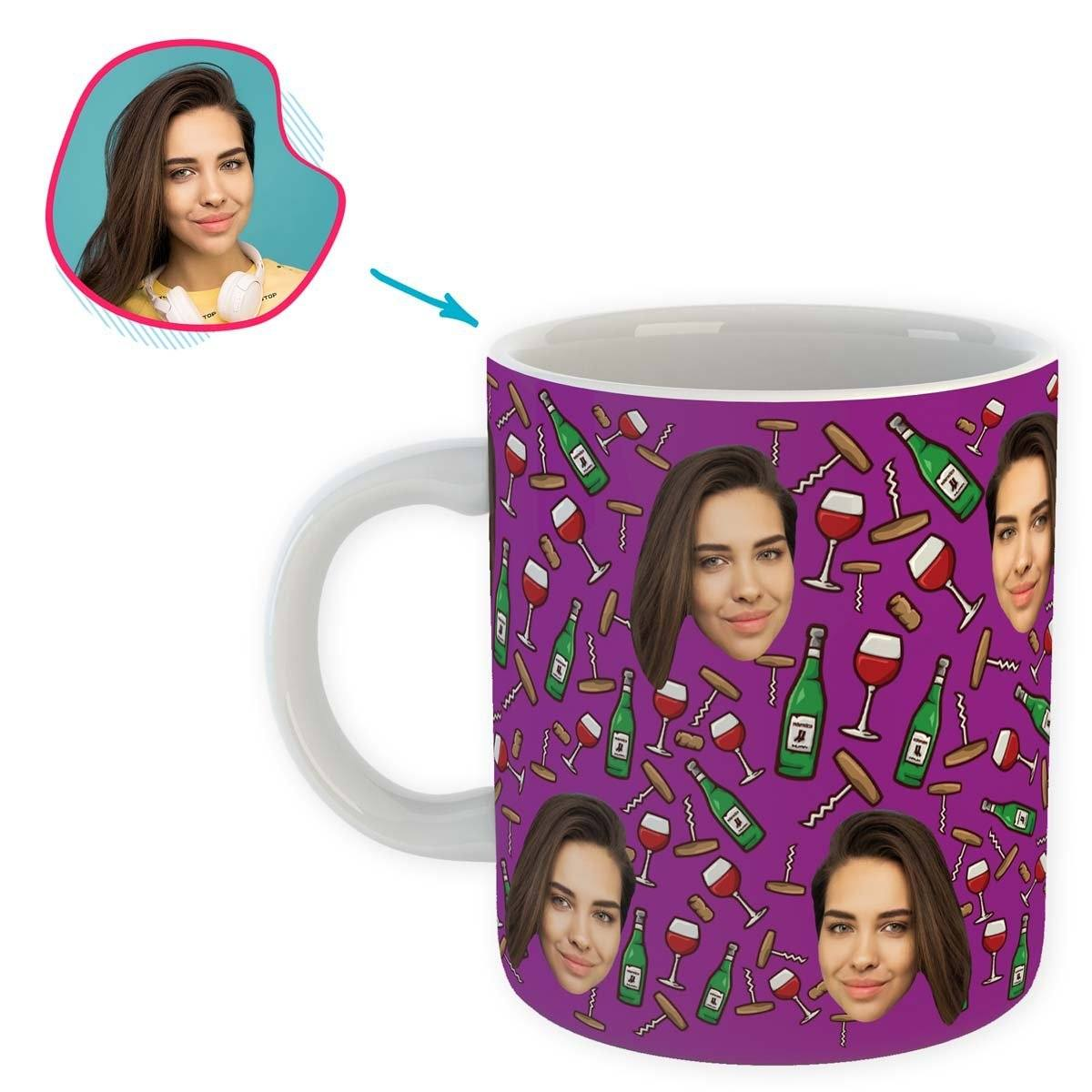 purple Wine mug personalized with photo of face printed on it