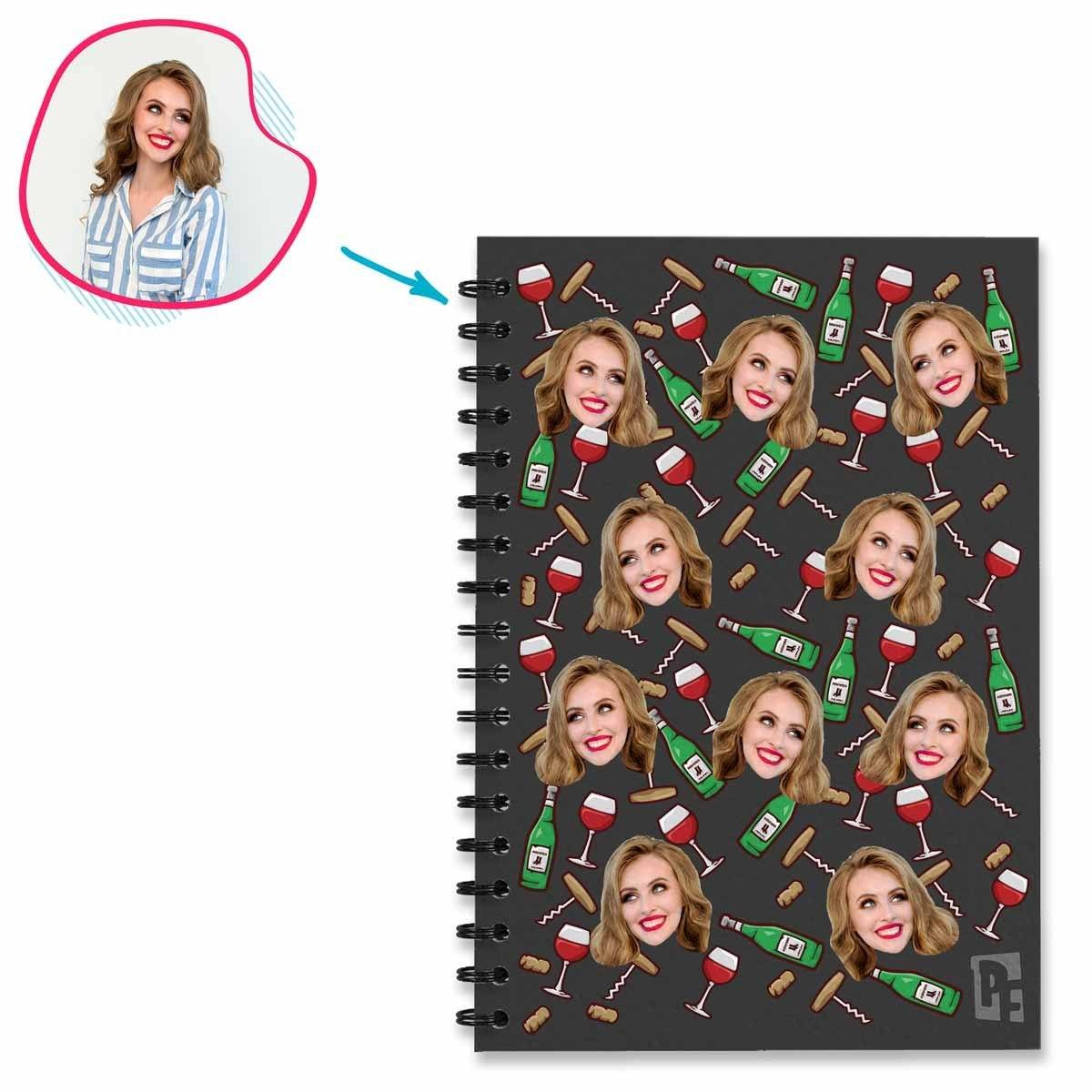 dark Wine Notebook personalized with photo of face printed on them