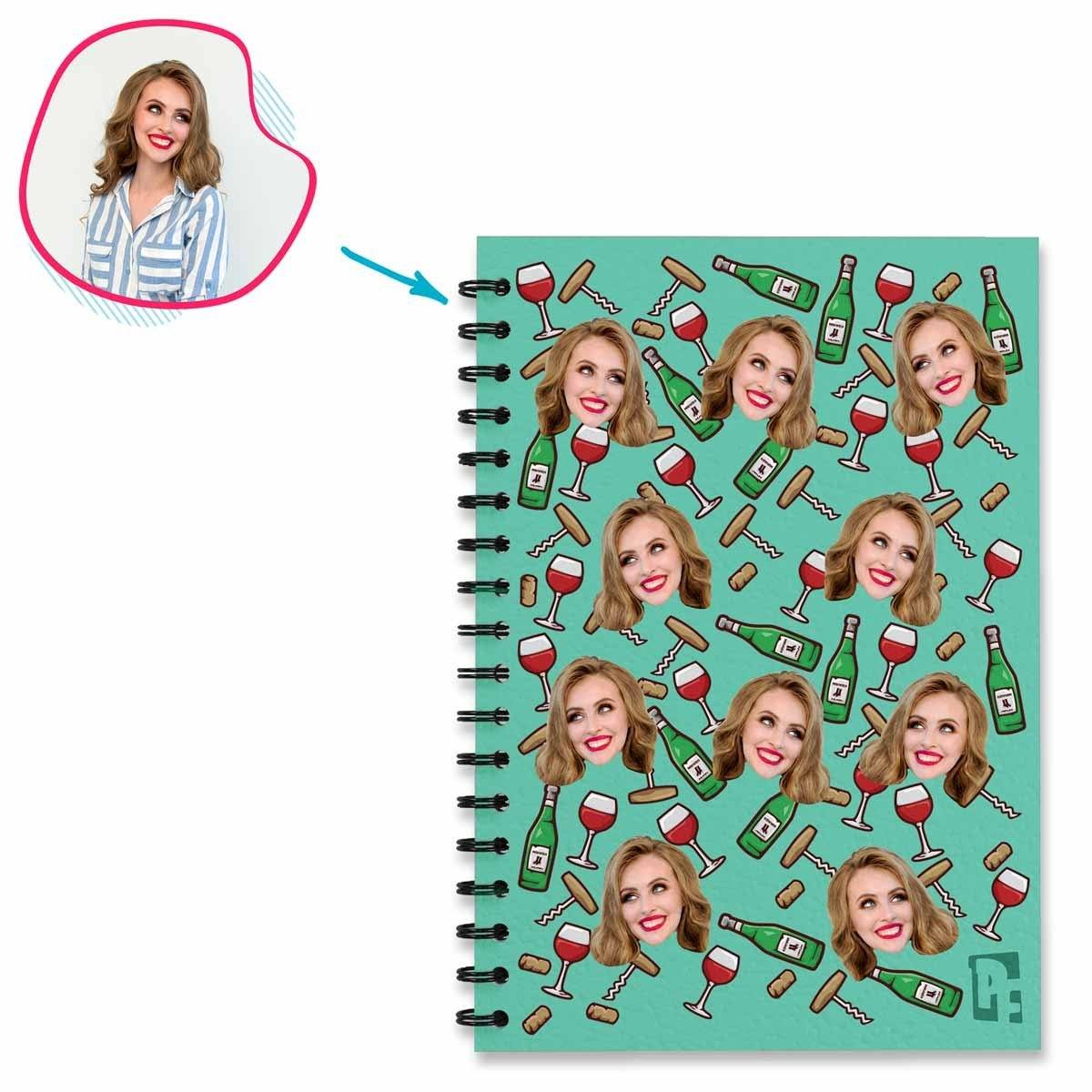 mint Wine Notebook personalized with photo of face printed on them