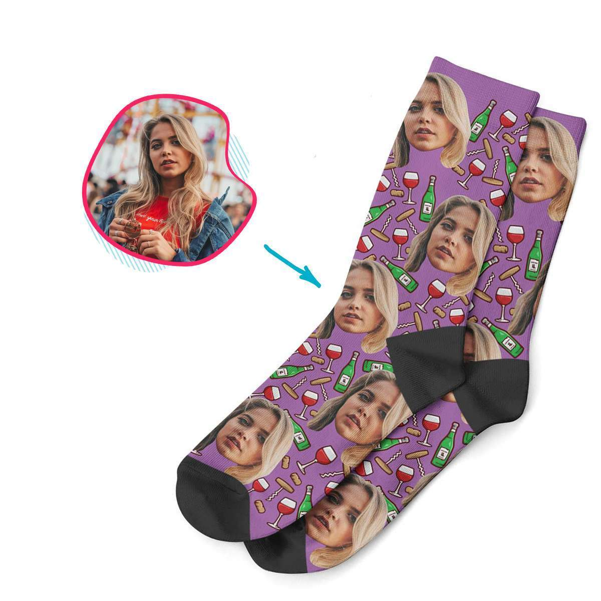 purple Wine socks personalized with photo of face printed on them