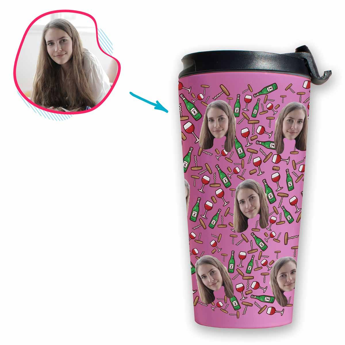 pink Wine travel mug personalized with photo of face printed on it