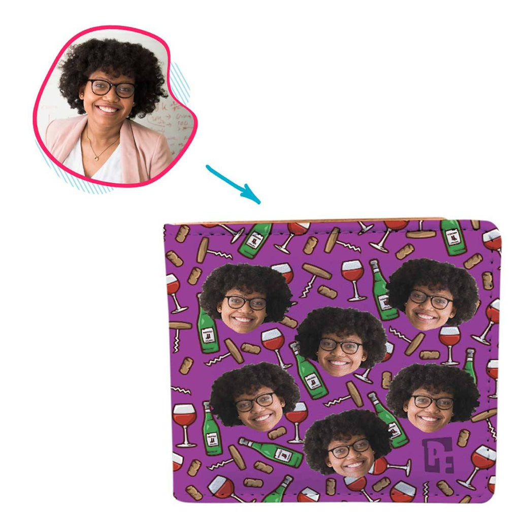 purple Wine wallet personalized with photo of face printed on it