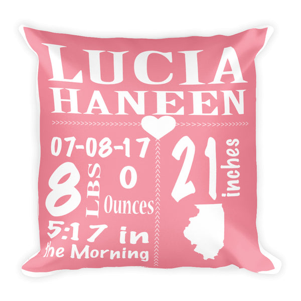 Birth Annoucement  Square Pillow