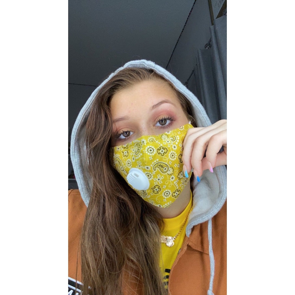 Bandana Face Mask W/PM 2.5 Filter Valve - Yellow