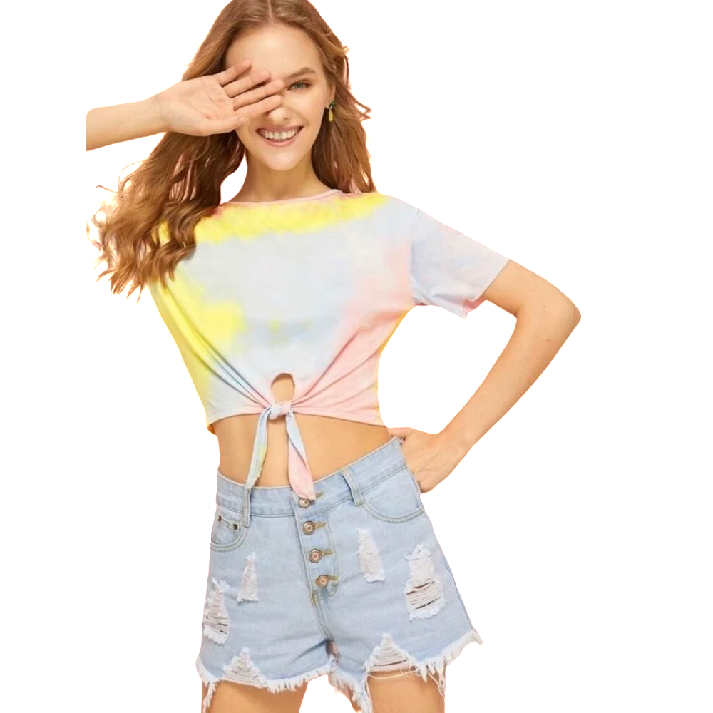 Disco Lemonade Front Tie Top