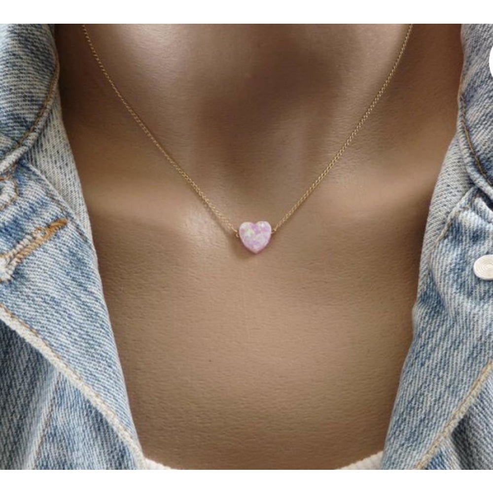 Fire Opal Heart Necklace