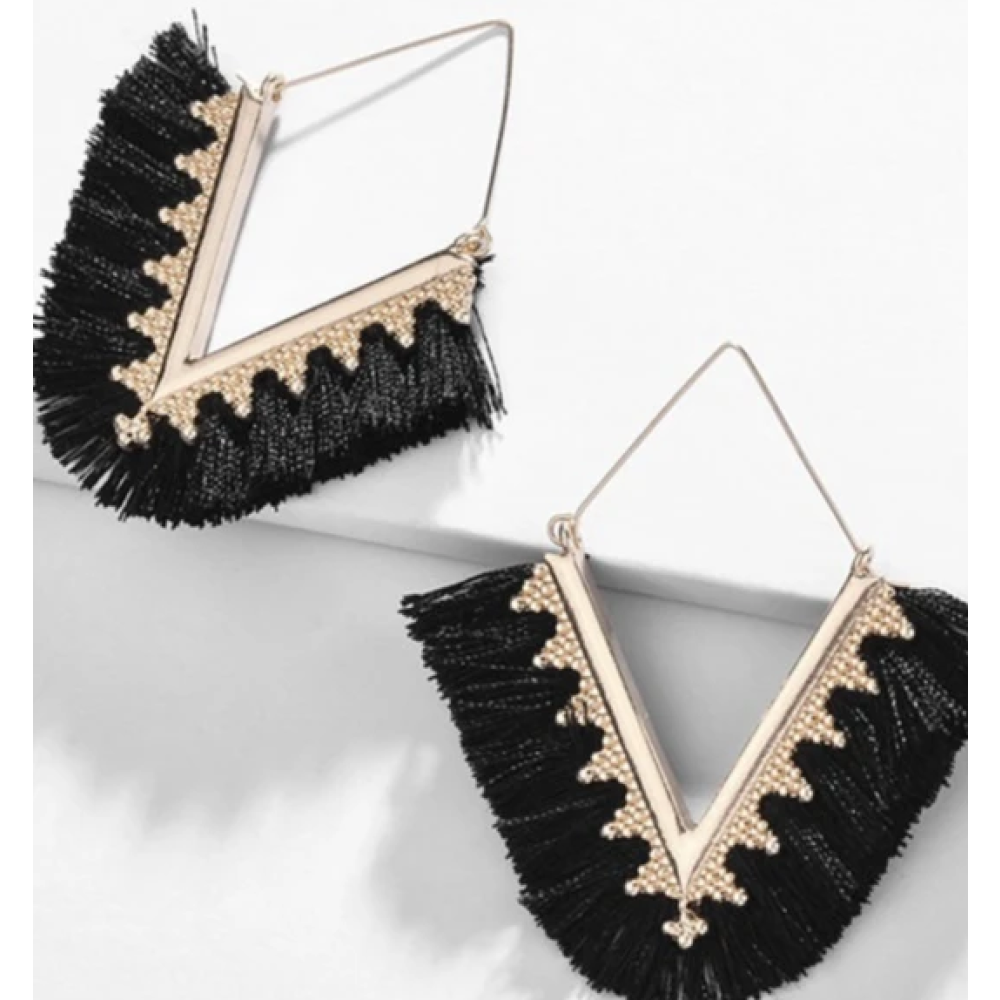 Fringe Tassel Earrings - Black