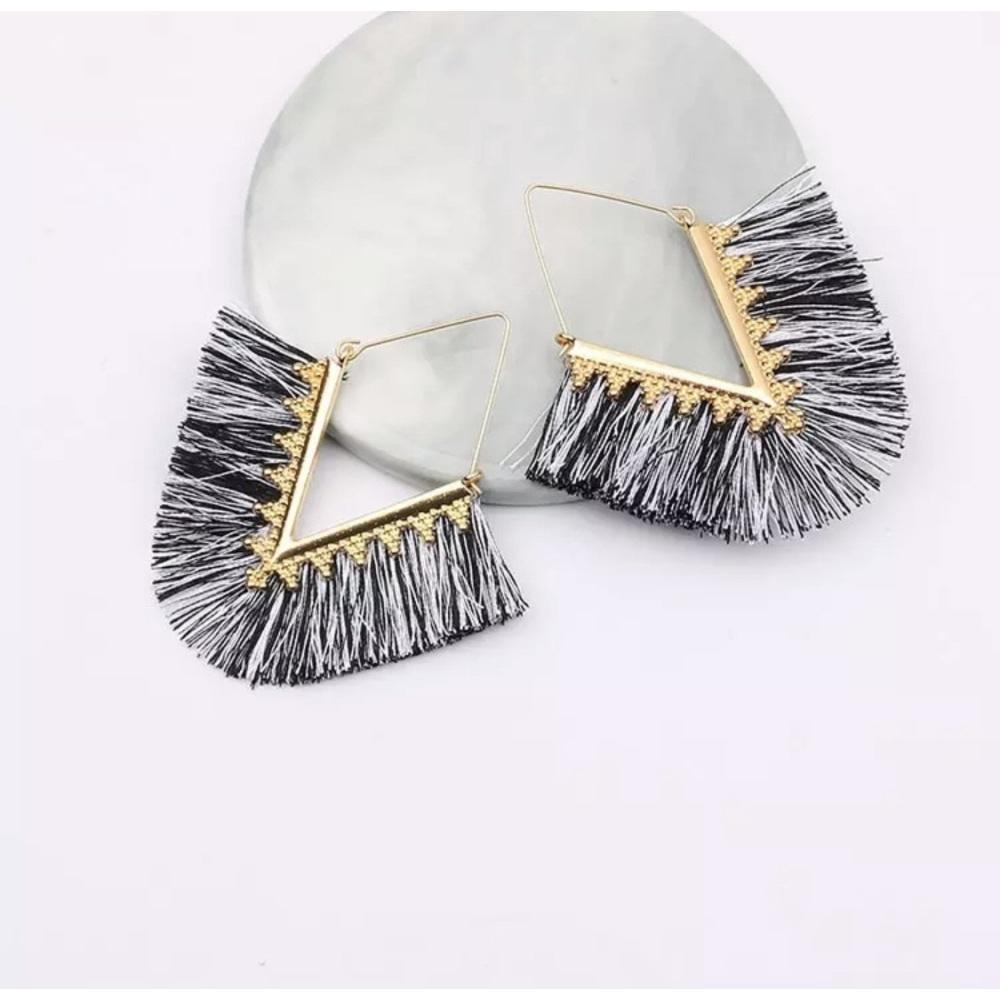 Fringe Tassel Earrings - Black & White Mix