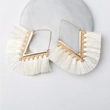Fringe Tassel Earrings - White