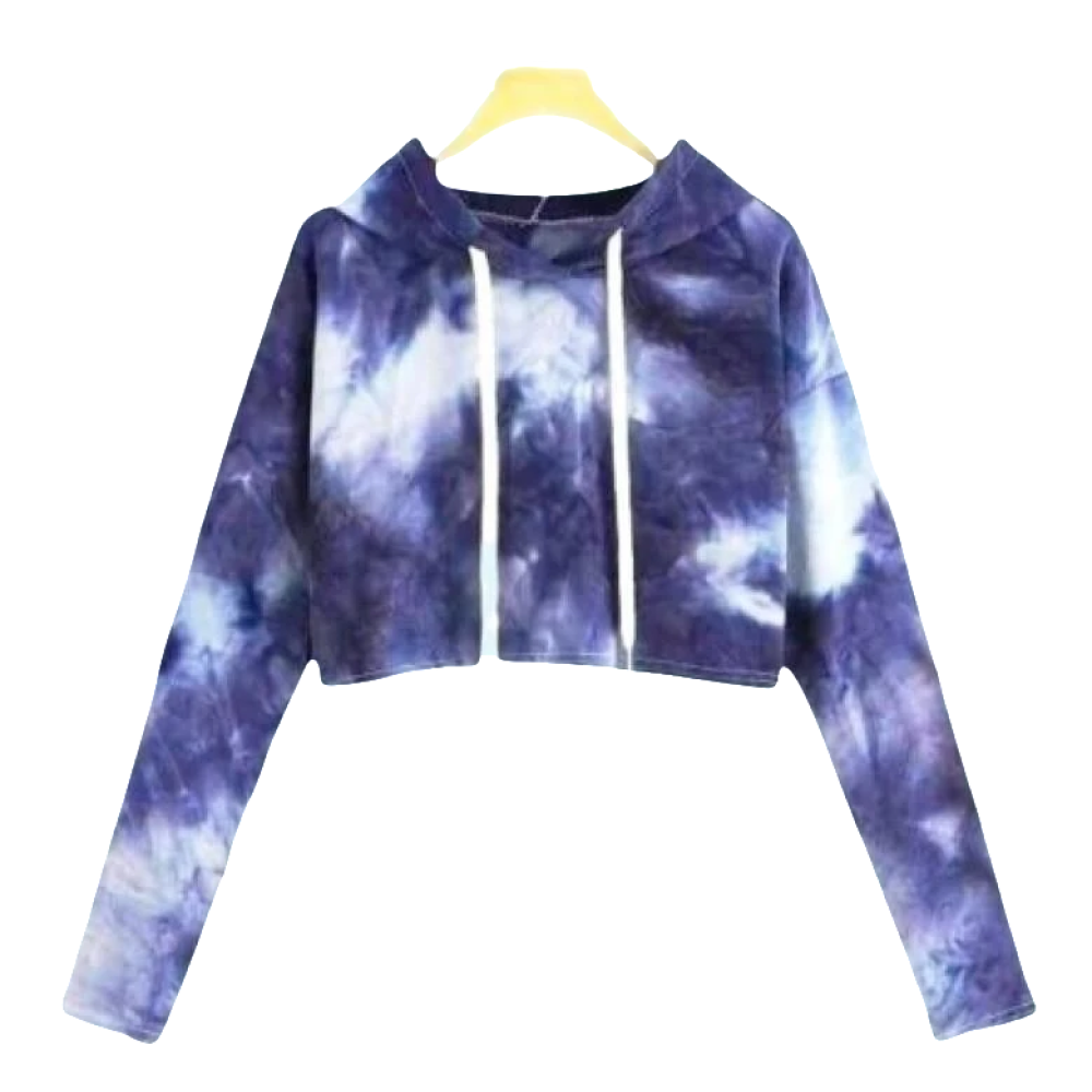 Moonlit Mermaid Tie Dye Crop Hoodie