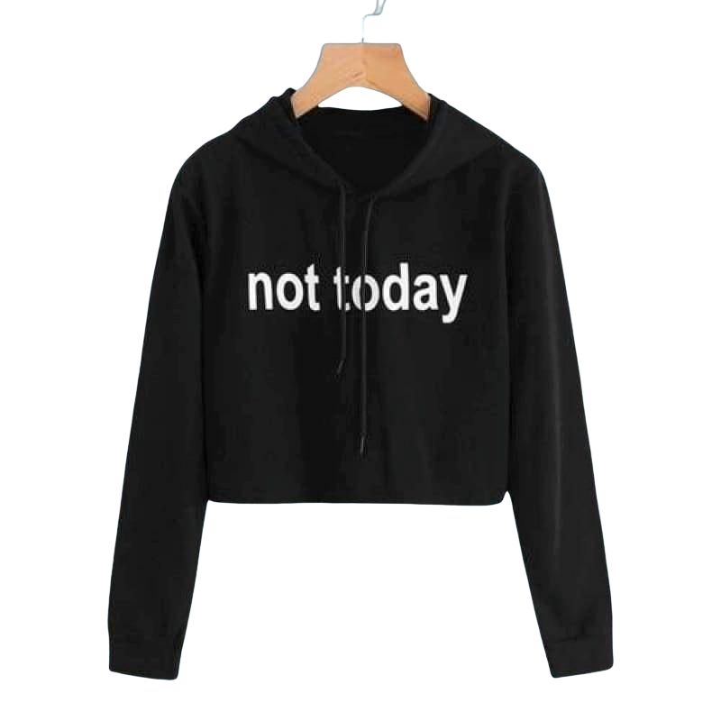 Sweatyrocks Black Sweatshirts Slogan Print Crop Hoodie Letter Women Clothes Long Sleeve Casual Pullovers Drawstring Sweatshirt - Black / S