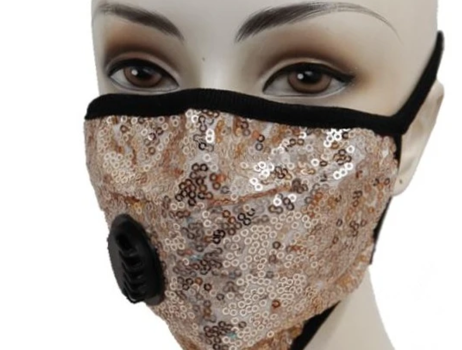 Sequin Face Mask W/Filter Valve - Gold