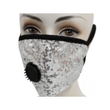Sequin Face Mask W/Filter Valve - Silver