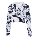 Leimolis Crop Top Hoodie Women 3D Print Pink Black Gothic Flower Skull Casual Harajuku Kawaii Spring Autumn Thin Tops Sweatshirt - 77012 / S