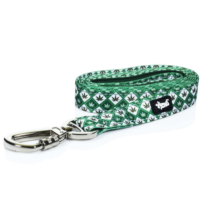 Dog-Leash-Marijuana-Leaf-Green-White