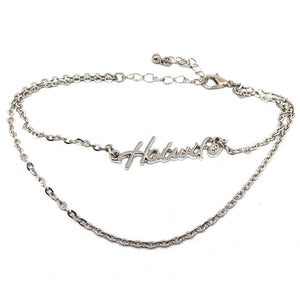 "QOS Queen of Spades - Cursive Letter ""HOTWIFE"" - 2 Row Chain Anklets in Slutty Silver"