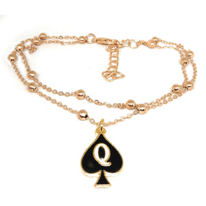 "Queen of Spades - ""Q"" Spade Charm Anklet - 2 Row Double Rose Gold Chain"