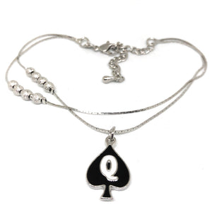 "Queen of Spades - ""Q"" Spade Charm Anklet - 2 Row Double Silver Chain"