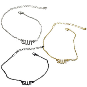 "Queen Of Spades - ""Slut"" Letters - Chain Anklets - Slutty Gold, Silver or Black Colors"