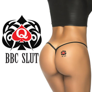BBC Slut Tribal Spade - High Quality Temporary Tattoos - QOS - Black - Red