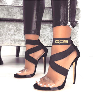 NEW DROP! QOS - Open Toe Strap PVC Clear High Heels - BLK/GLD