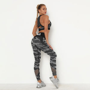 Black Camouflage BLKD - Blacked 2 Piece Yoga Seamless Fishnet Workout Outfit