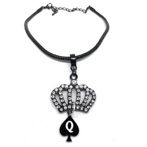 """Crystal Crown"" Queen Of Spades Charm - Black Chain Anklet"