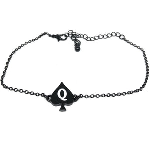 QOS - Queen Of Spades Charm - Chain Anklets - Gold, Silver or Black