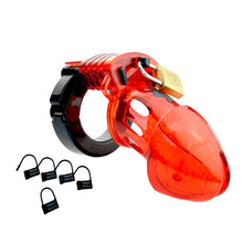 Red & Black Male Cuck Chastity Cage Device -  Medical Poly-Carbonate