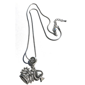 QOS Queen Of Spades - Silver Crown Charm Necklace V1 - Cuckold Jewelry