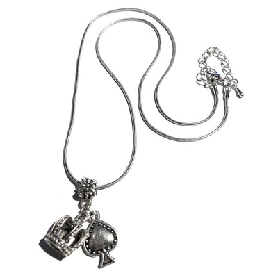 QOS Queen Of Spades - Silver Crown Charm Necklace V3 - Cuckold Jewelry