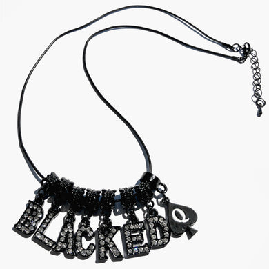Swinger Lifestyle Jewelry - Combination Custom Crystal Letter, Symbol Charms - BLACK - Euro Necklace,