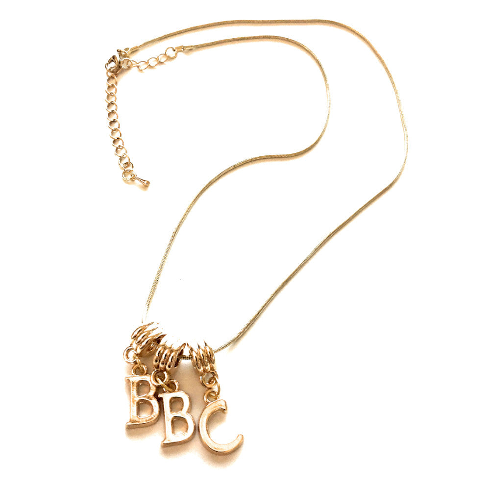 Swinger Lifestyle Jewelry - Custom Letter Charms - Rose - Gold - Euro Necklace