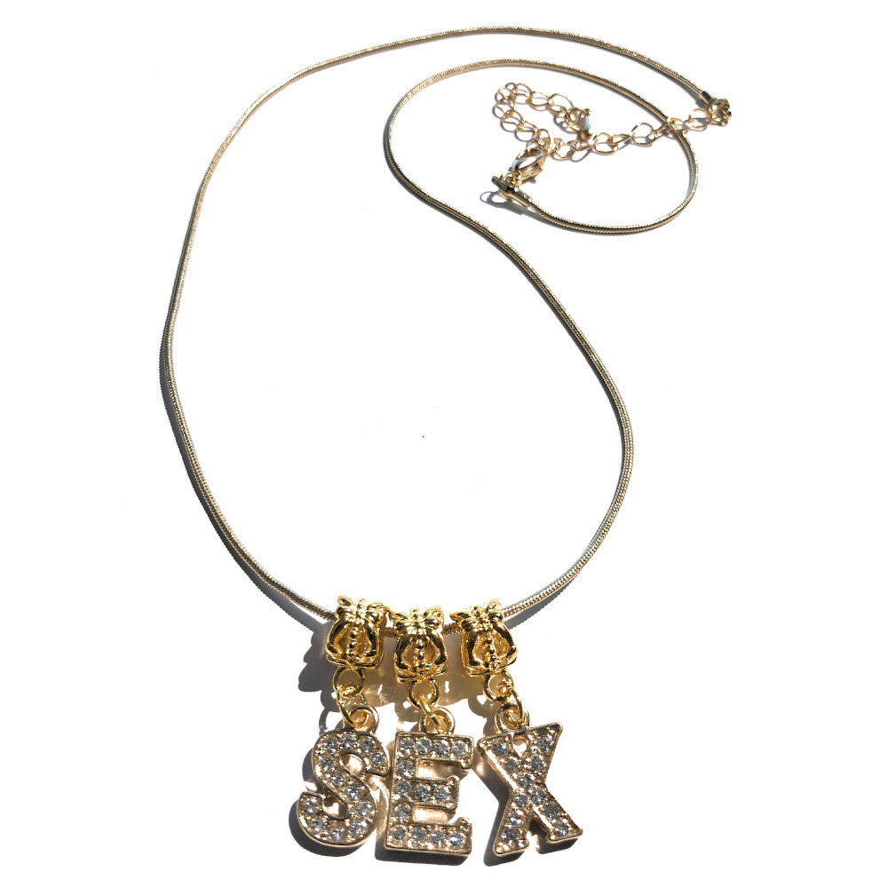 Swinger Lifestyle Jewelry - Custom VVS Crystal Letter Charms Symbols Gold - Euro Necklace