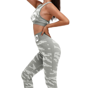 Grey Camouflage BLKD - Blacked 2 Piece Yoga Seamless Tight-fitting Workout Outfit