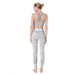 Grey Camouflage QOS - 2 Piece Yoga Seamless Tight-fitting Workout Outfit