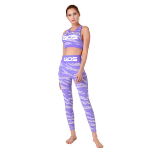 Purple Camouflage QOS - 2 Piece Yoga Seamless Tight-fitting Workout Outfit