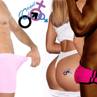 QOS - Cuckold MFM - High Quality Temporary Tattoos - Black Purple & Blue