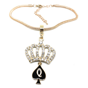 """Crystal Crown"" QOS Queen of Spades Charm - Rose Gold Chain Anklet"