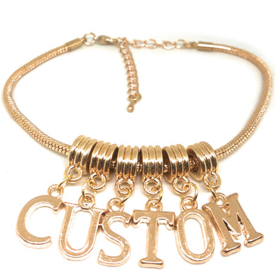QOS - Custom Lettering Charms for Hotwives - Rose Gold - Euro Snake Anklet