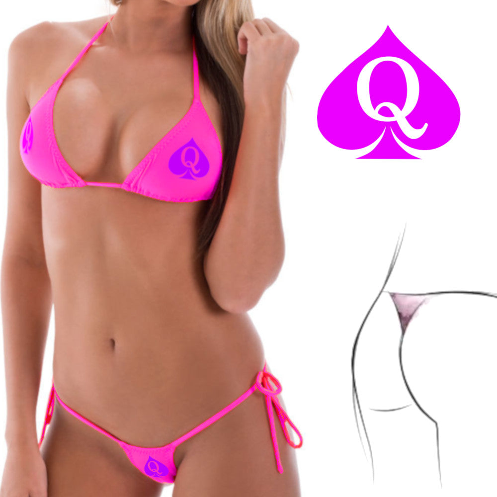 Hot Pink QOS Queen Of Spades Logo - Fetish - Sexy Two Piece G-String Brazilian Bikini