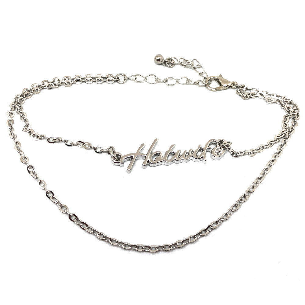 QOS - Cursive HOTWIFE Double Row Chain Fetish Bracelet