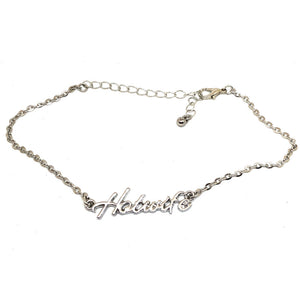 "QOS Queen of Spades - Cursive Letter ""HOTWIFE"" - Chain Anklets - Slutty Silver"
