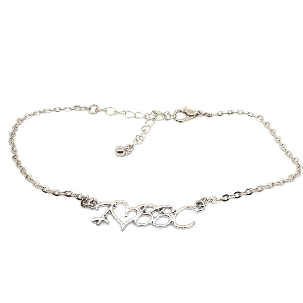 QOS - Cursive I LOVE (HEART ❤) BBC Chain Fetish Bracelet