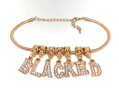 QOS - BLACKED - Gold VVS Crystal Letter Charms -Rose Gold Euro Snake Anklet