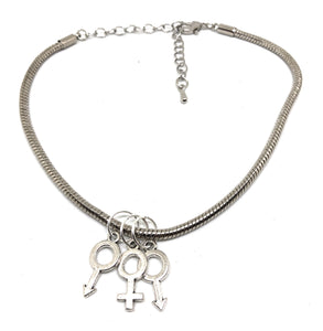MFM - ♂♀♂ Threesome 3some Group-sex Swinger Gender Symbols Charm - Chain Anklet