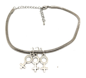 FFF - threesome 3some Group Sex Gender Symbol Charm Gay Lesbian - Euro Snake Anklet
