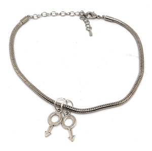 MM ( Male + Male ) - Gay Sissy Sex Gender Symbol Charms - Euro Snake Anklet