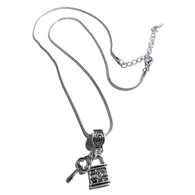 QOS Queen Of Spades - Silver Lock and Key Necklace V1 - Chastity Cuckold Jewelry