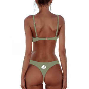 QOS Brazilian Bikini Push up Bra - Olive Grey